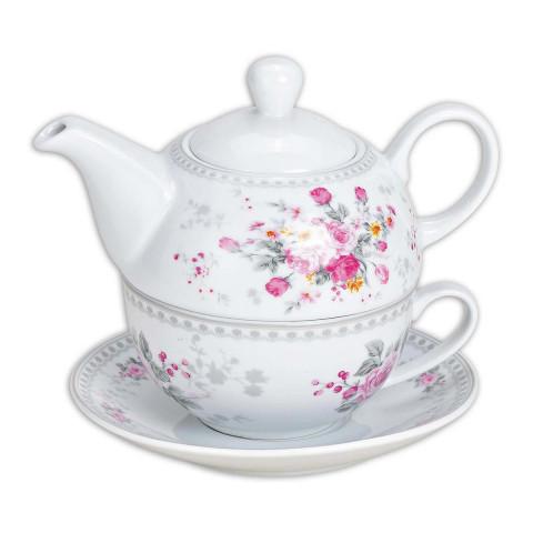 Teekannen-Set »Rosendekor«