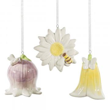 3er-Set Porzellananhänger »Blütenzauber«