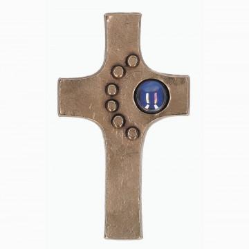 Schmuckkreuz aus Bronze mit Glasstein (1 Stück)
