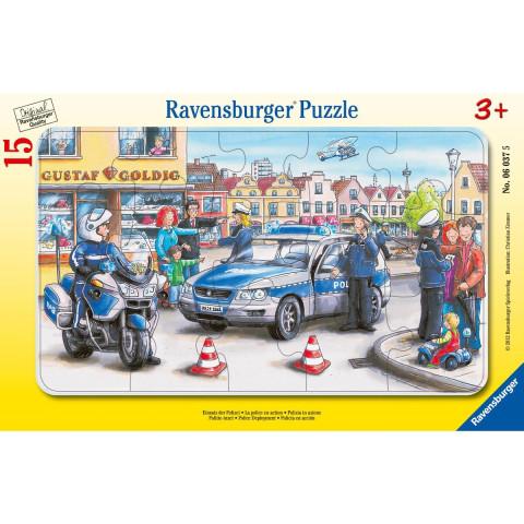 Einsatz der Polizei. Rahmenpuzzle 15 Teile