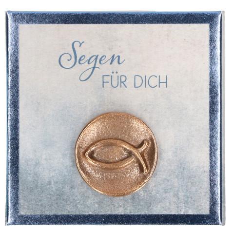 Fisch-Plakette aus Bronze - Segen für dich (1 Stück)
