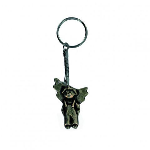 Neusilber-Schlüsselanhänger Engel-Junge
