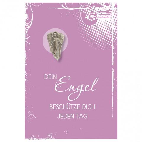 Klappkarte mit Bronze-Engel Dein Engel beschütze dich jeden Tag (5 Stück)