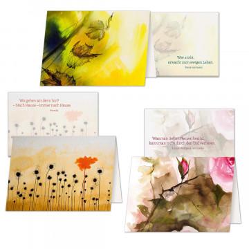 3er Set Trauerkarten Trost und Zuversicht
