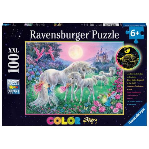 Einhörner im Mondschein. Color Star Line Puzzle 100 Teile XXL