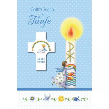 Glückwunschkarte mit Segenskreuz Gottes Segen zur Taufe (3 Stück)