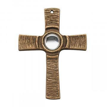 Bronzekreuz mit klarem Stein