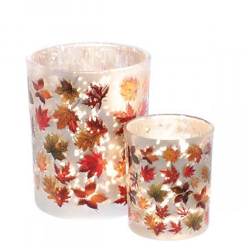 2er-Set Teelichtglas »Herbstblätter«