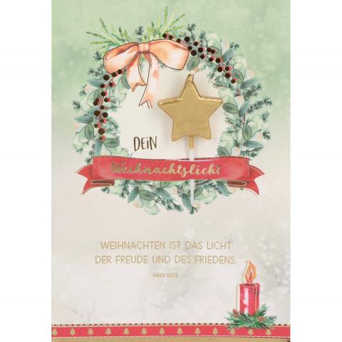 Glückwunschkarte - Dein Weihnachtslicht (5 Stück)