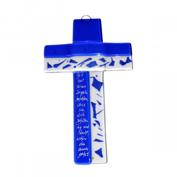 Glaskreuz »Mosaik« in blau