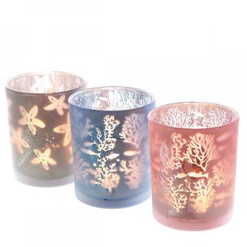 3er Set Teelichtglas Maritim