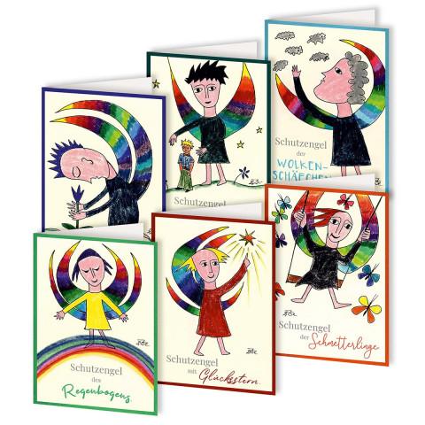 6er Set Grußkarten Ein Engel bringt Farbe in dein Leben