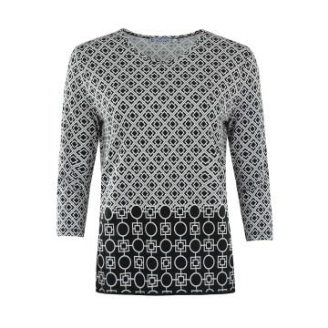 Damen-Shirt Schwarz-Wollweiß mit Bordürendruck
