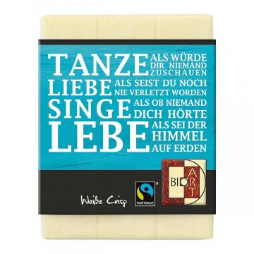 BioArt Schoko Lyrik »Tanze, Liebe, Singe, Lebe«