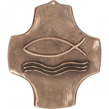 Symbolkreuz Fisch aus Bronze (1 Stück)