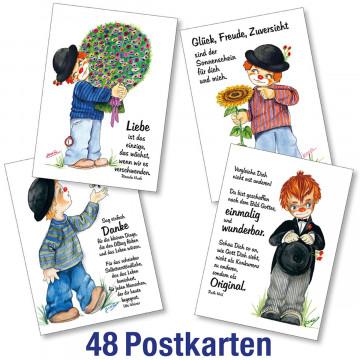 Clown-Postkarten-Paket 62802-62805