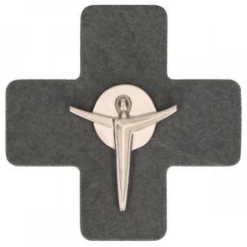 Schieferkreuz mit Korpus aus Feinmetall (1 Stück)
