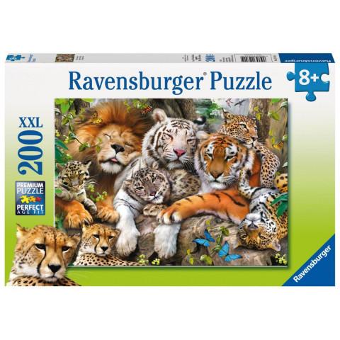 Schmusende Raubkatzen Puzzle 200 Teile