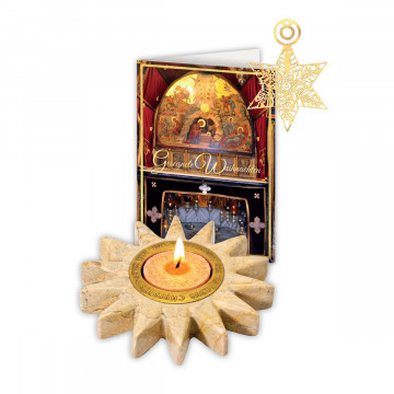 2er-Set Marmor-Kerzenleuchter und Grußkarte »Stern von Betlehem«