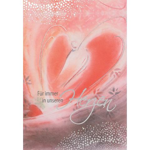 Trauerkarte - Für immer in unseren Herzen (6 Stück)