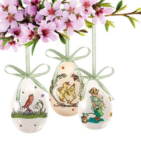 3er-Set Keramik-Eier »Frohe Ostergrüße«