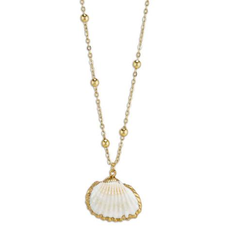 Vergoldete Halskette mit Schmuckanhänger »Muschel«