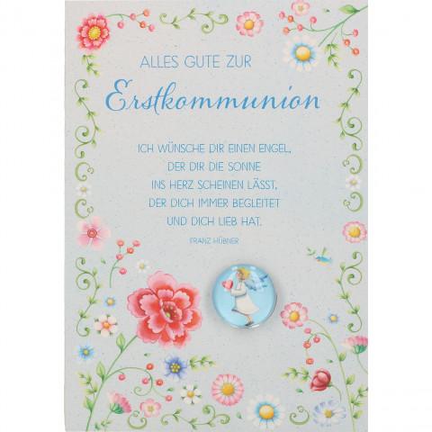 Glückwunschkarte mit Glasmagnet Alles Gute zur Erstkommunion (5 Stück)
