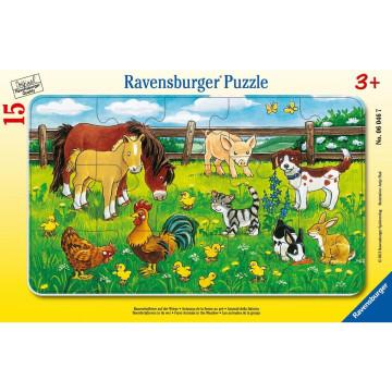 Bauernhoftiere auf der Wiese. Rahmenpuzzle 15 Teile