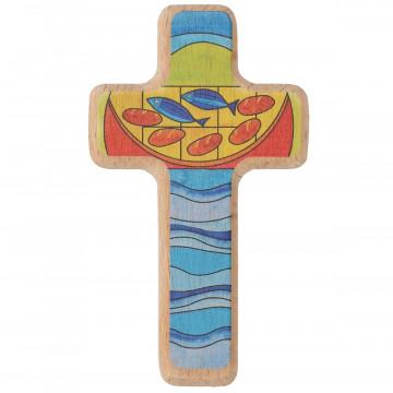 Kinderholzkreuz - Brot und Fische (1 Stück)