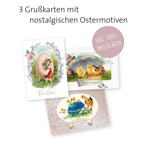 3er-Set Grußkarten »Nostalgische Ostergrüße«