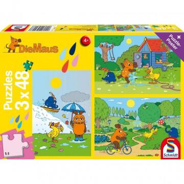 Die Maus: Viel Spaß mit der Maus. 3 x 48 Teile Puzzle