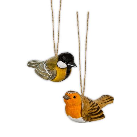 2er Set Vogelanhänger aus Holz Rotkehlchen und Kohlmeise