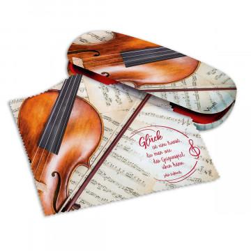2er-Set Brillenetui und Microfasertuch »Violine«