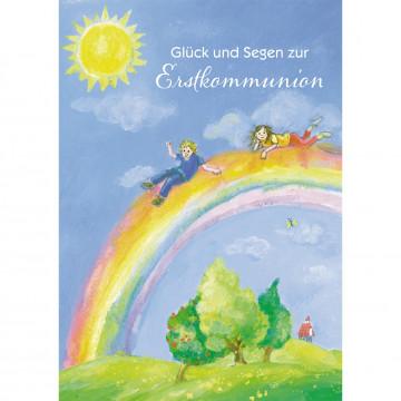 Glückwunschkarte Glück und Segen zur Erstkommunion (6 Stück)