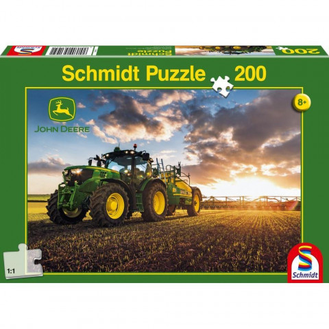 John Deere, Traktor 6150R mit Güllefass. Puzzle 200 Teile