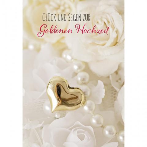 Glückwunschkarte Glück und Segen zur Goldenen Hochzeit (6 Stück)