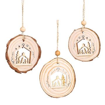 3er-Set: Holzanhänger »Heilige Familie«