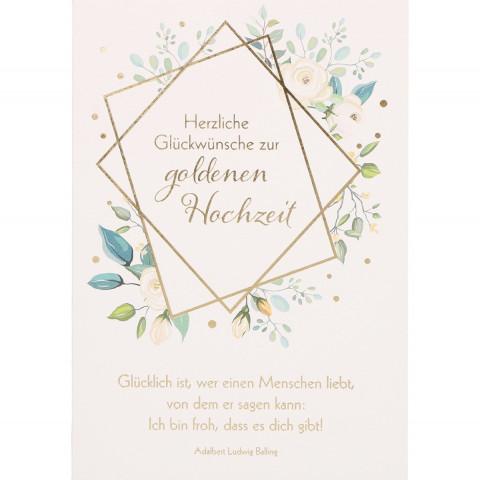 Glückwunschkarte - Herzliche Glückwünsche zur goldenen Hochzeit (6 Stück)