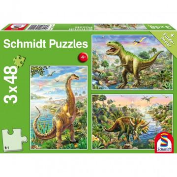 Abenteuer mit den Dinosauriern. 3 x 48 Teile Puzzle