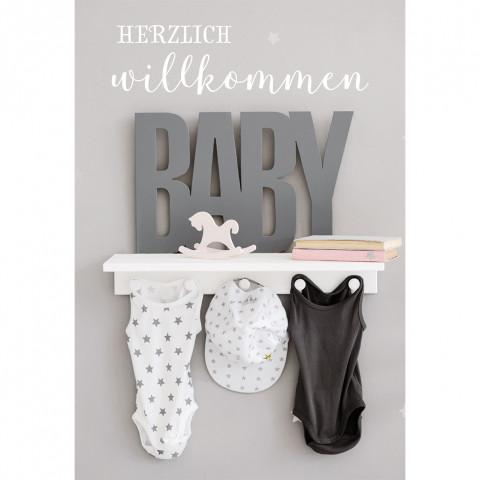 Glückwunschkarte zur Geburt Herzlich Willkommen (6 Stück)