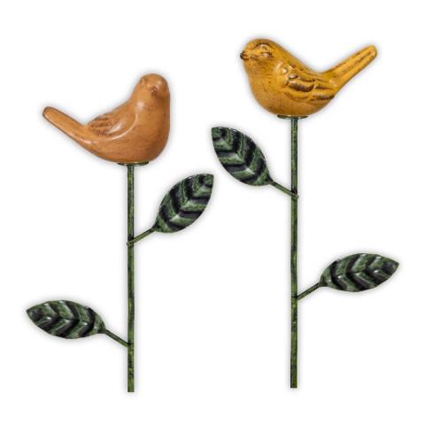 2er-Set Blumenstecker »Gefiederte Freunde« aus Keramik