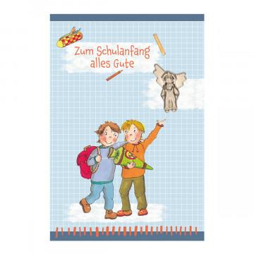 Glückwunschkarte mit Engel-Handschmeichler - Zum Schulanfang alles Gute (5 Stück)