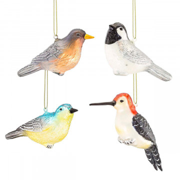 4er-Set Glas-Anhänger »Vögelchen«