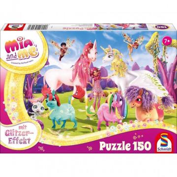 Glitzerpuzzle, Ankunft der Pony-Einhörner, 150 Teile - Kinderpuzzle Mia & Me