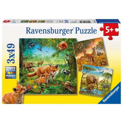 Tiere der Erde Puzzle 3 x 49 Teile