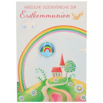 Glückwunschkarte mit Glasmagnet Herzliche Glückwünsche zur Erstkommunion (5 Stück)