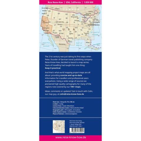 Reise Know-How Landkarte USA 6, Kalifornien 1:850.000