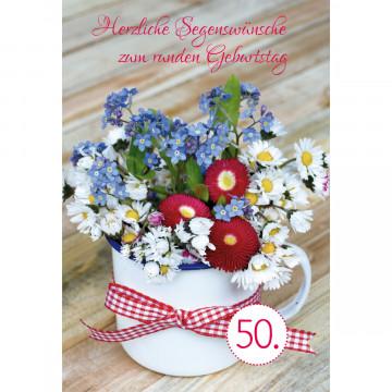 Glückwunschkarte - Herzliche Segenswünsche zum runden Geburtstag (6 Stück)