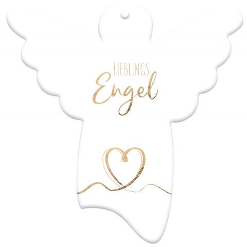 Engel-Anhänger aus Porzellan - Lieblingsengel (1 Stück)