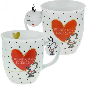 """Sheepworld 46218 Tasse mit Motivdruck:""""Wie schön, dass es dich gibt!"""", mit Geschenktag"""